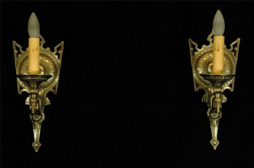 ANTIQUE PAIR 1920'S RESTORED TUDOR MEDIEVAL GOTHIC SPADE BRASS WALL SCONCES