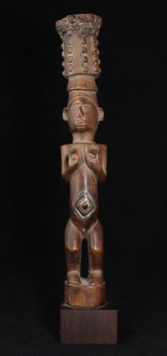 old African Fly Whisk handle, carved wooden statue, BETE or BAKONGO, West Africa