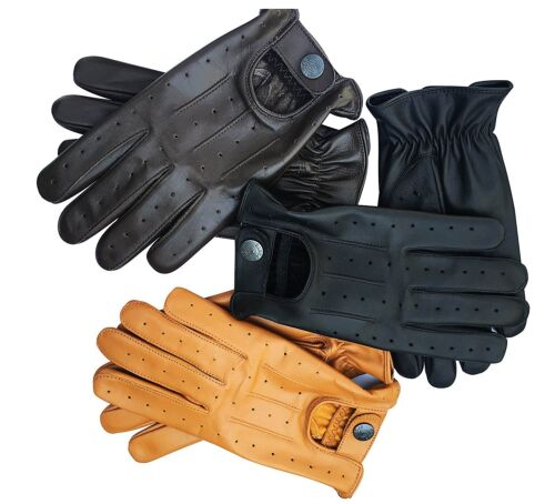 NEW TOP QUALITY REAL SOFT LEATHER MENS DRIVING GLOVES BLACK BROWN TAN (7012)