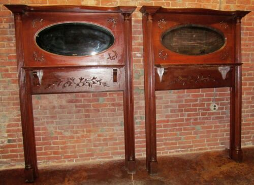PAIR OF VICTORIAN CARVED ANTIQUE MANTLES WITH MIRRORED GALLERIES ~~ EXTRA RARE