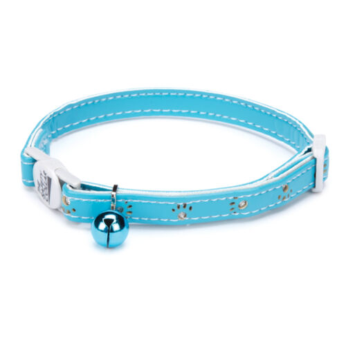 "Savvy Tabby Sparkle Paw Cat Pet Collar 3/8"" Adjustable 8-12 Inch Bluebird"