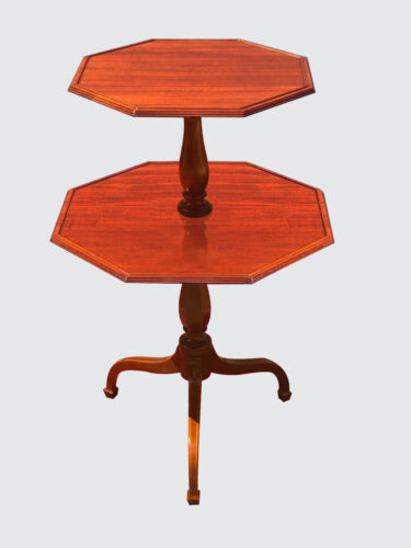 FEDERAL STYLE INLAID MAHOGANY TWO TIER SPADE LEG TABLE BY NATHAN MARGOLIS