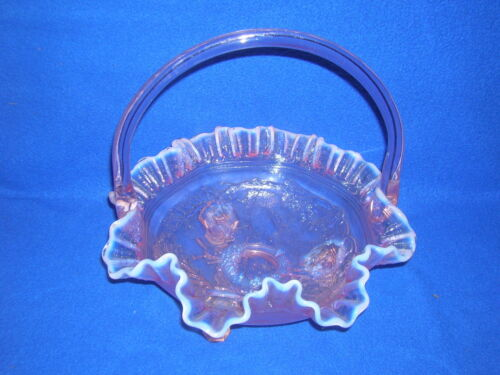 "Imperial ""Windmill"" pink opalescent basket, 9"", marked IG"