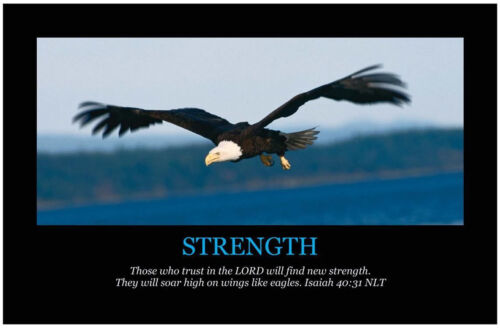 STRENGTH Christian Art Print Poster, Inspirational Motivational Bible Scripture