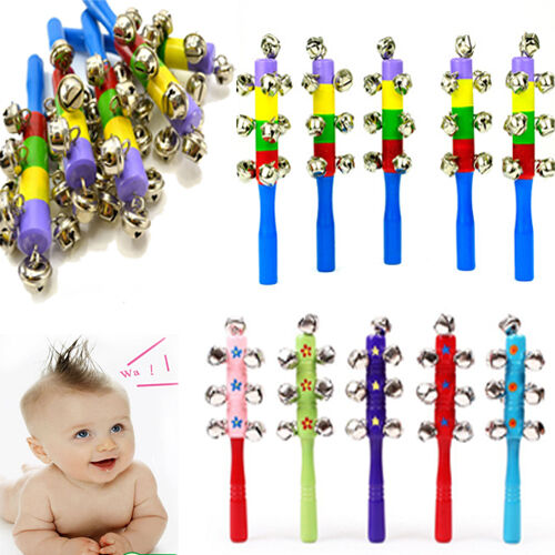 Toys Colorful Wooden Jingle Hand Bells For Kids Baby Cradle Music Shake Toys TOP