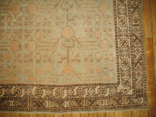 Antique Decorative Pomegranate East Turkestan Khotan Rug Size 5'5''x10'3''