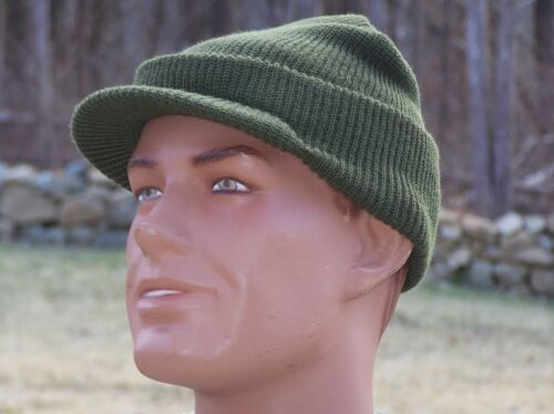 Jeep Hat MASH Military Knit Cap NEW Made in USA 100% Wool Green & M1Helmet LinerReproductions - 156470