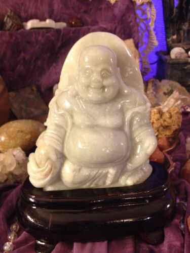 Antique/Vintage Carved Jade Buddha With Wood Stand