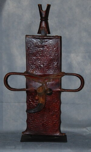 African Art Tikar Cameroon Embossed Leather Scabbard And Wood Hilt Sword