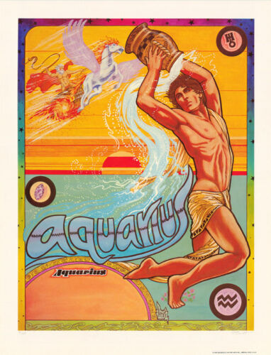 POSTER: ZODIAC - AQUARIUS  by FERET - SIGNED & NUMBERED -  #12-498  LC18 D