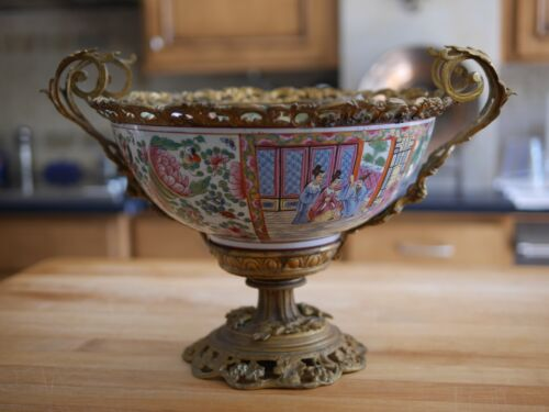 18th Century French Gilt Bronze Ormolu Porcelain Famile Rose Chinese Export Bowl