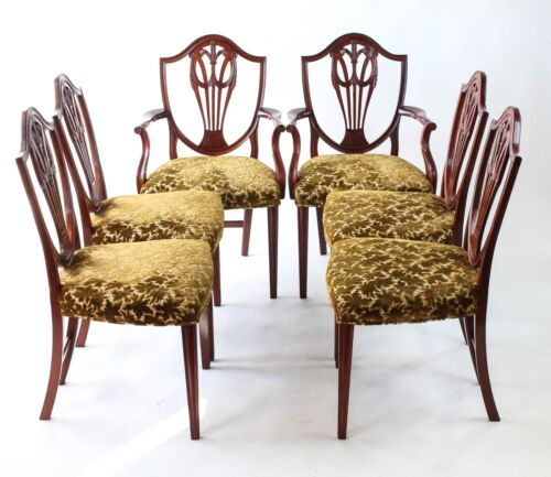 EXQUISITE SET OF SIX BENCH MADE HEPPLEWHITE MAHOGANY PRINCE OF WALES CHAIRS-BEST
