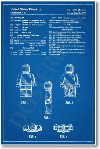 Lego Figure Patent - NEW Vintage Invention Patent Poster