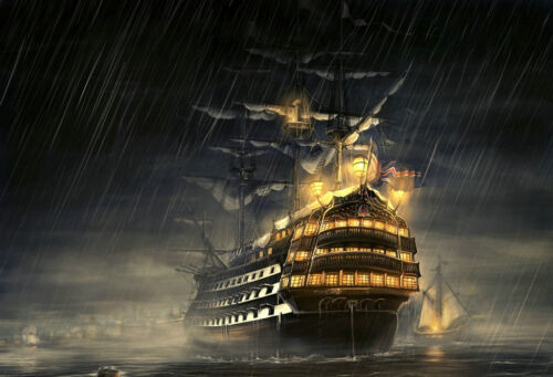 HD print oil painting art on canvas (No stretch)Home Decor Ship Sailing In Storm
