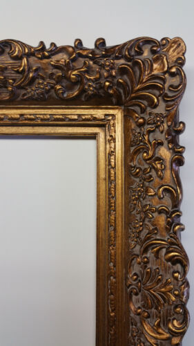 Wide Ornate Antique Gold Gilt Bronze Floral Baroque Picture Mirror Frame 16x20