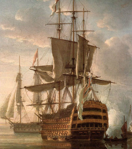 Stunning Oil painting Turner - The Battle of Trafalgar with huge sail boats ship