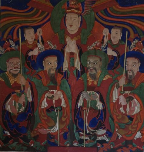 Very Fine & Rare Joseon Dynasty Korean BulHwa Painting on Thick Cotton