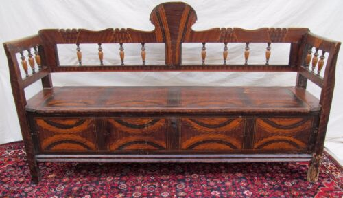 SUPERB EARLY 19TH CENTURY GRAIN PAINTED SETTLE BENCH-EXCEPTIONAL SPECIMEN-LOOK!