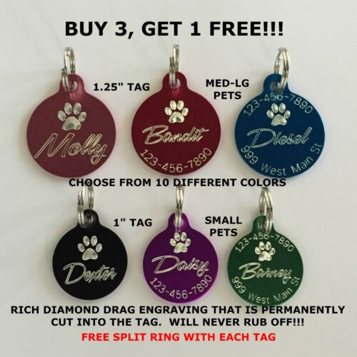 Custom Engraved Paw Print Pet Tag Dog Cat ID Name Animal (Choose from 10 Colors)