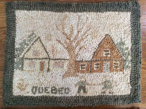 """Small Antique Mat/Rug, """"Quebec"""", Snow Scene, Grenfell Style, 10.25""""X13.5"""""""