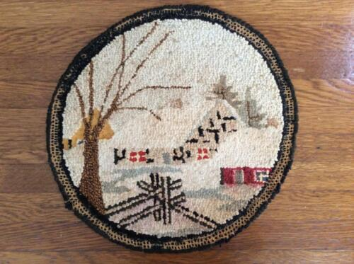 """Vintage Hooked Circular Chair Mat/Cover with Snow Scene, 13"""", c. 1900-1930"""