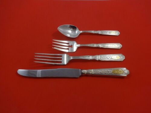 Saint Dunstan Chased Gold by Gorham Sterling Dinner Size Place Setting(s) 4pc