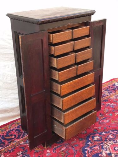 VICTORIAN RAISED PANEL OAK & PINE APOTHECARY CABINET WITH EGG & DART MOLDINGS
