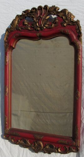 FINE ANTIQUE CONTINENTAL RED AND GOLD GILT HIGHLIGHTED MIRROR