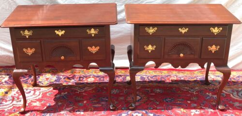 PAIR OF CHIPPENDALE ANTIQUE STYLED CHERRY LOWBOYS BY HITCHCOCK FURNITURE