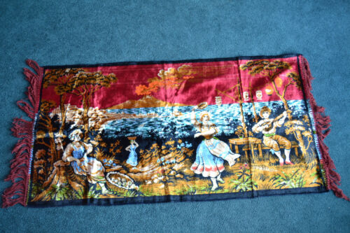 Vintage COUNTRY FRENCH SCENE TAPESTRY DANCING, SINGING