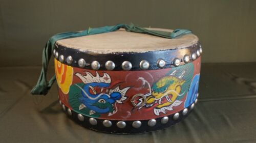 Beautiful Large Hand Painted Korean Folk Drum with Double Dragons