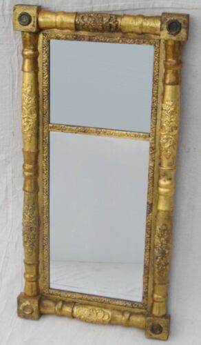 EARLY 19TH CENTURY FINE GOLD GILDED SHERATON MIRROR WITH BRASS ROSETTES