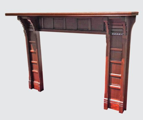 EXCELLENT VICTORIAN BLACK WALNUT MANTLE - FINELY PANELED WITH  FRIEZE CARVING