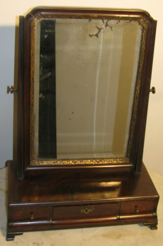 1740'S ENGLISH MAHOGANY QUEEN ANNE GENTLEMEN'S SHAVING MIRROR-ORIGINAL GLASS