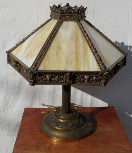 VICTORIAN EGYPTIAN REVIVAL LAMP WITH FINELY CASTED BRONZE & 12 SLAG PANEL SHADE