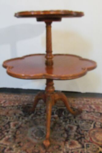 FINE CUSTOM FRENCH CARVED SATINWOOD PIE CRUST 2 TIER TABLE W/SNAIL CARVED FEET