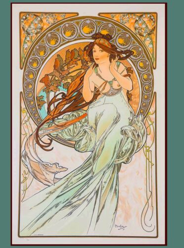 Music & Poetry French Nouveau Alphonse Mucha Vintage Advertisement Art Poster