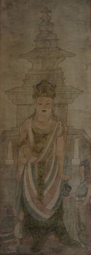 Very Fine Korean Joseon Dynasty Buddha Kwan Yin Figure Painting on Silk