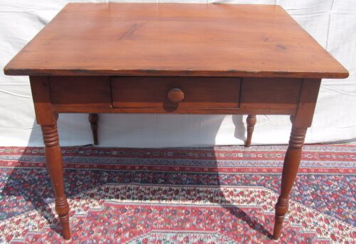LARGE 19TH C OHIO RIVER VALLEY ANTIQUE PINE TAVERN TABLE