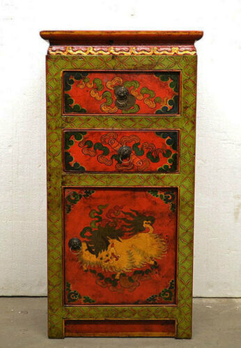 Colorful Tibetan Wooden Cabinet Side End Table w/3 Sides Hand Painting TC6-28