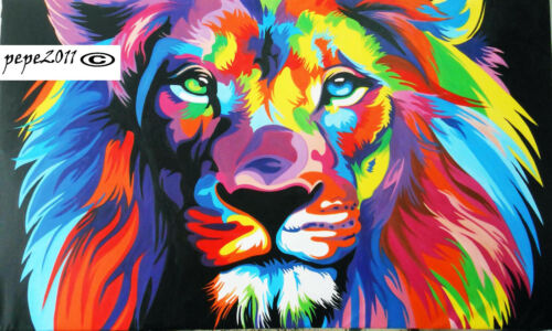 Lion Head pop art POSTER rainbow painting A0 A1 A2 A3  Print FOR GLASS FRAMES