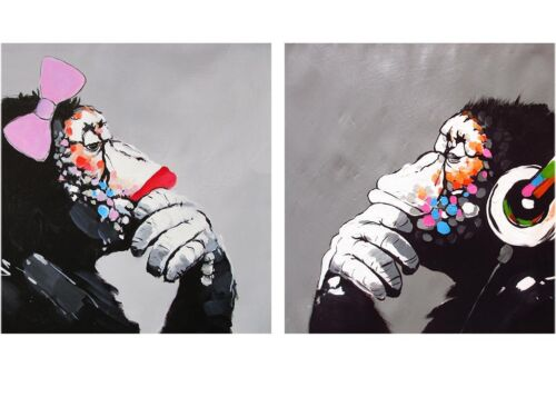 2x A0 posters  lady girl  Art Print DJ MONKEY gorilla ape chimp PAINTING DIPTYCH