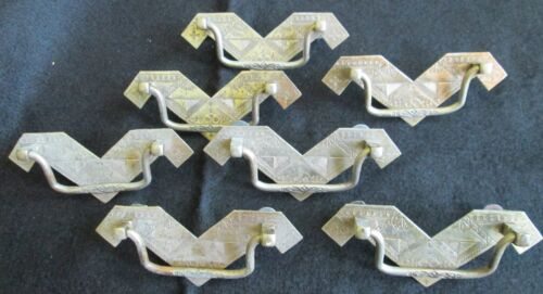 Antique Art Deco set 7 shiny silver colored metal ornate geometric drawer pulls