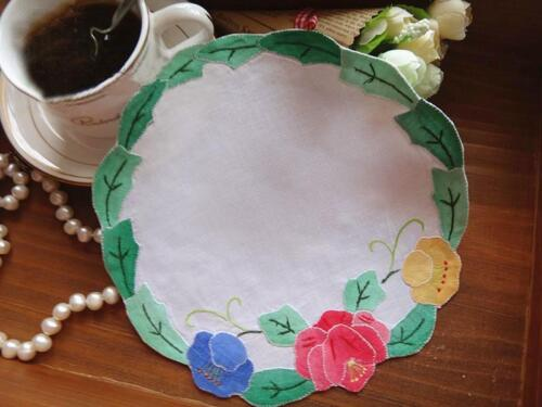 Beautiful Hand Applique Rose Embroidery Round Cotton Doily
