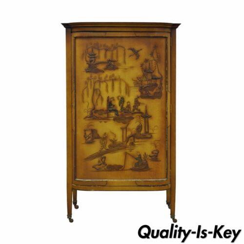 Vintage Oriental Chinese Asian Lacquered Figural Painted Mirrored Cabinet Curio