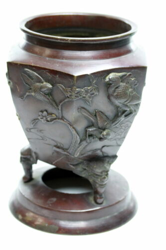 Antique Bronze  Jardiniere decorated with Exotic birds Signed Chinese ??