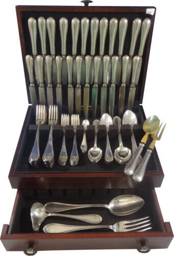 Old Italian 800 Silver Flatware Dinner Set For 12 Service 101 Pieces Italy