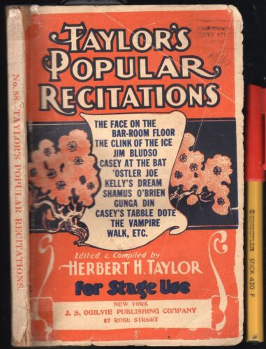 Rare Theatre  MUSIC HALL SCRIPTS Taylor's POPULAR RECITATIONS Vaudeville STAGE
