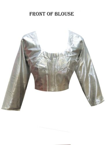 Women's Indian SILVER Shimmer Ready Made Saree BLOUSE Crop Top Choli Style 4007