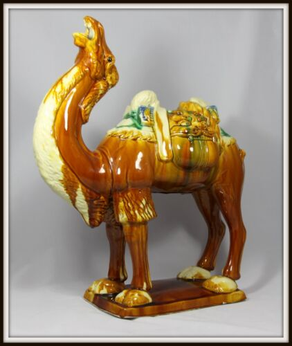 """Colossal """"Antique Chinese Tang Sancai Pottery Camel""""(19.25"""" High x 16"""" Wide)"""